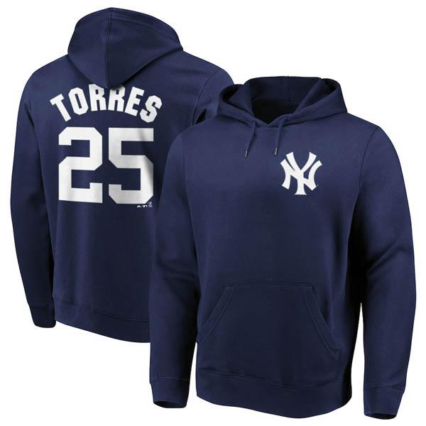 お取り寄せ MLB ヤンキース グレイバー・トーレス パーカー/フーディー ネーム&ナンバー マジェスティック/Majestic ネイビー