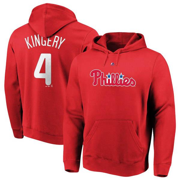 お取り寄せ MLB フィリーズ スコット・キンガリー パーカー/フーディー ネーム&ナンバー マジェスティック/Majestic レッド