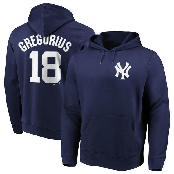 お取り寄せ MLB ヤンキース ディディ・グレゴリウス パーカー/フーディー ネーム&ナンバー マジェスティック/Majestic ネイビー