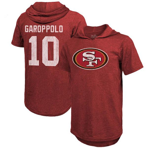 お取り寄せ NFL 49ers ジミー・ガロポロ Tシャツ フード ネーム&ナンバー マジェスティック/Majestic スカーレット