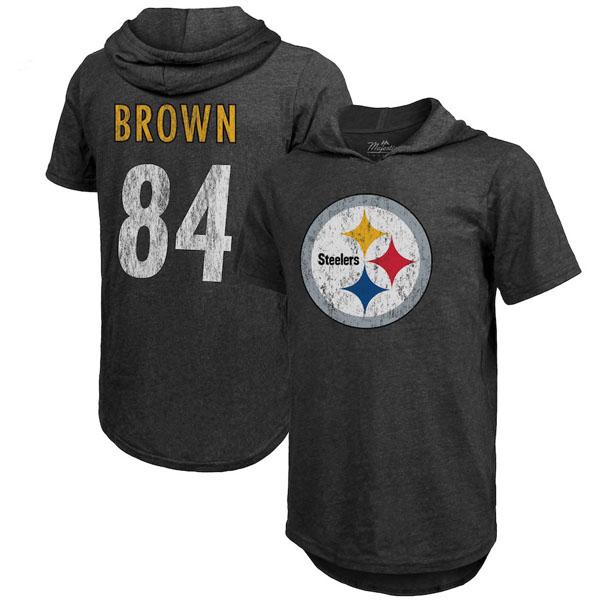 お取り寄せ NFL スティーラーズ アントニオ・ブラウン Tシャツ フード ネーム&ナンバー マジェスティック/Majestic ブラック