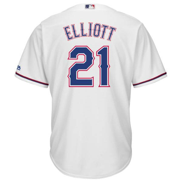 お取り寄せ MLB レンジャーズ エゼキエル・エリオット NFL×MLB クロスオーバー ユニフォーム マジェスティック/Majestic ホワイト