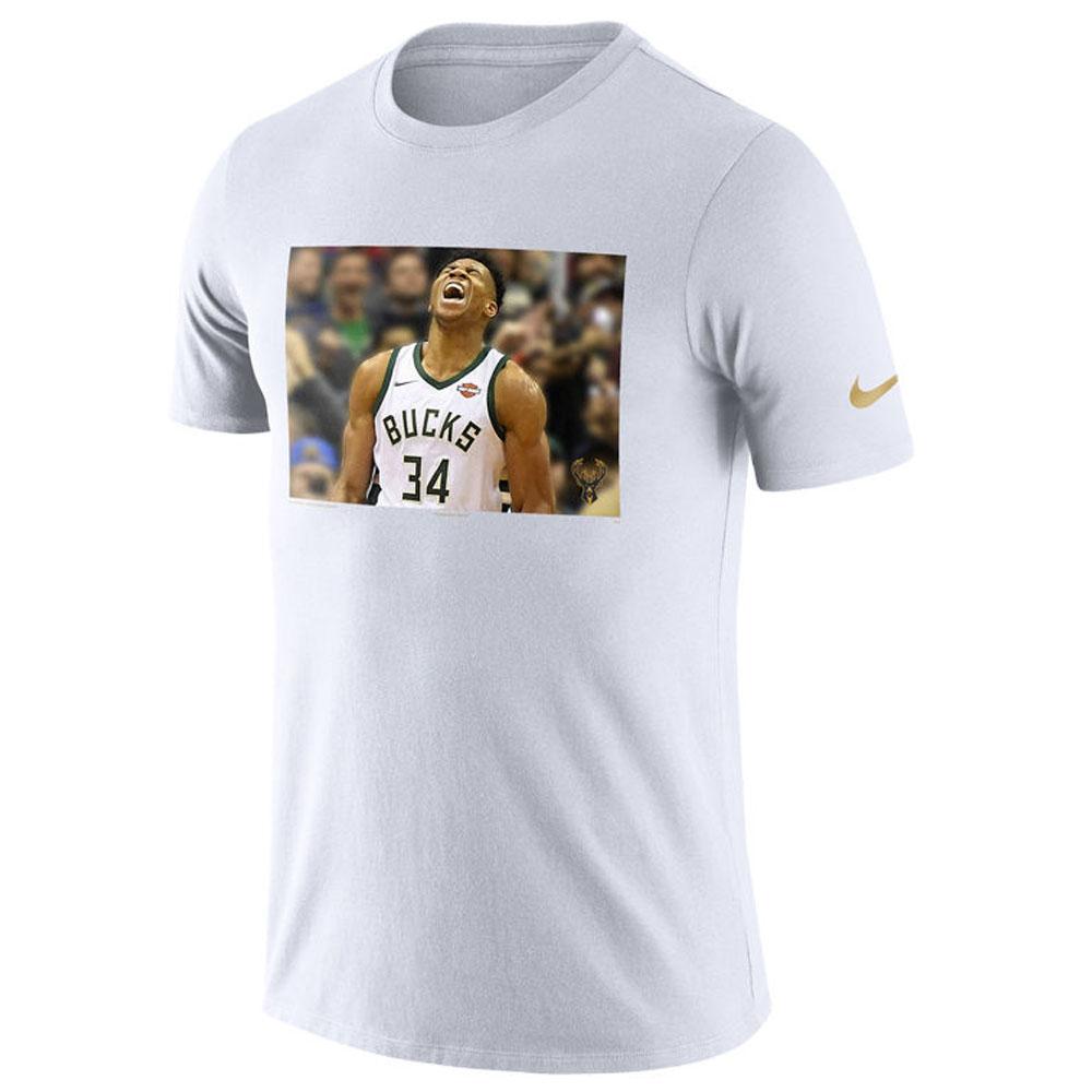 NBA Tシャツ バックス ヤニス・アデトクンボ 半袖 スターフォト リール ナイキ/Nike ホワイト トレーニング特集