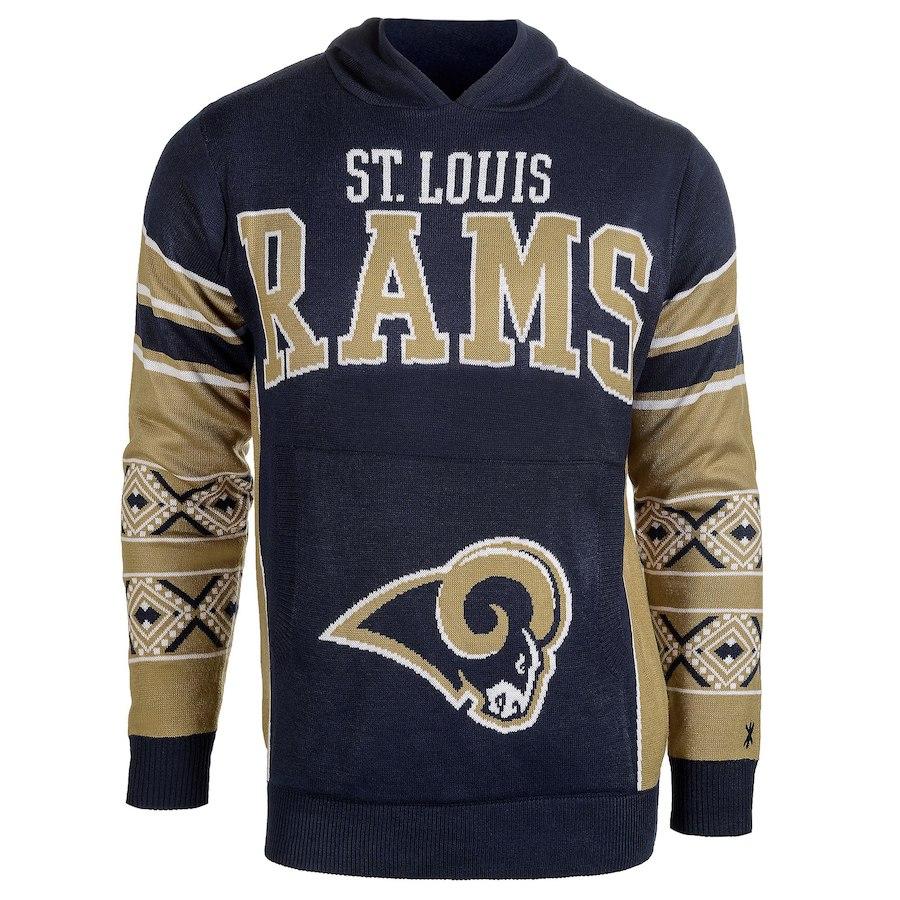 お取り寄せ NFL ラムズ パーカー/フーディー ビッグ ロゴ プルオーバー フーディー セーター ネイビー