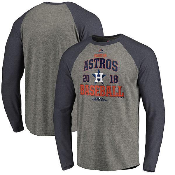 お取り寄せ MLB アストロズ Tシャツ 2018 プレーオフ進出記念 ロングスリーブ ラグラン 長袖 マジェスティック/Majestic