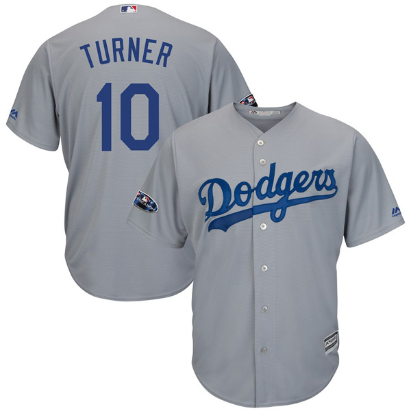 お取り寄せ MLB ドジャース ジャスティン・ターナー ユニフォーム/ジャージ 2018 プレーオフ進出記念 レプリカ クールベース グレー
