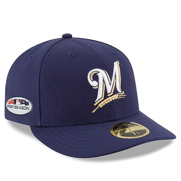お取り寄せ MLB ブリュワーズ キャップ/帽子 2018 プレーオフ進出記念 サイドパッチ ロープロファイル ニューエラ/New Era ホーム