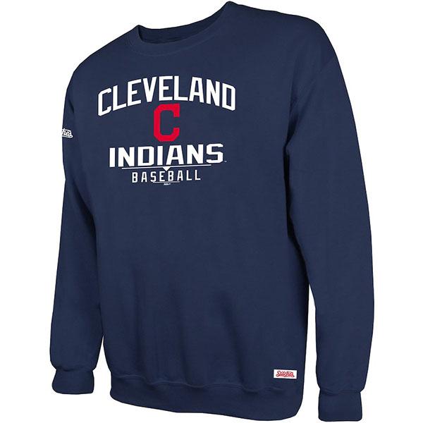 お取り寄せ MLB インディアンス スウェットシャツ/トレーナー ホリデー プルオーバー クルー Stitches ネイビー