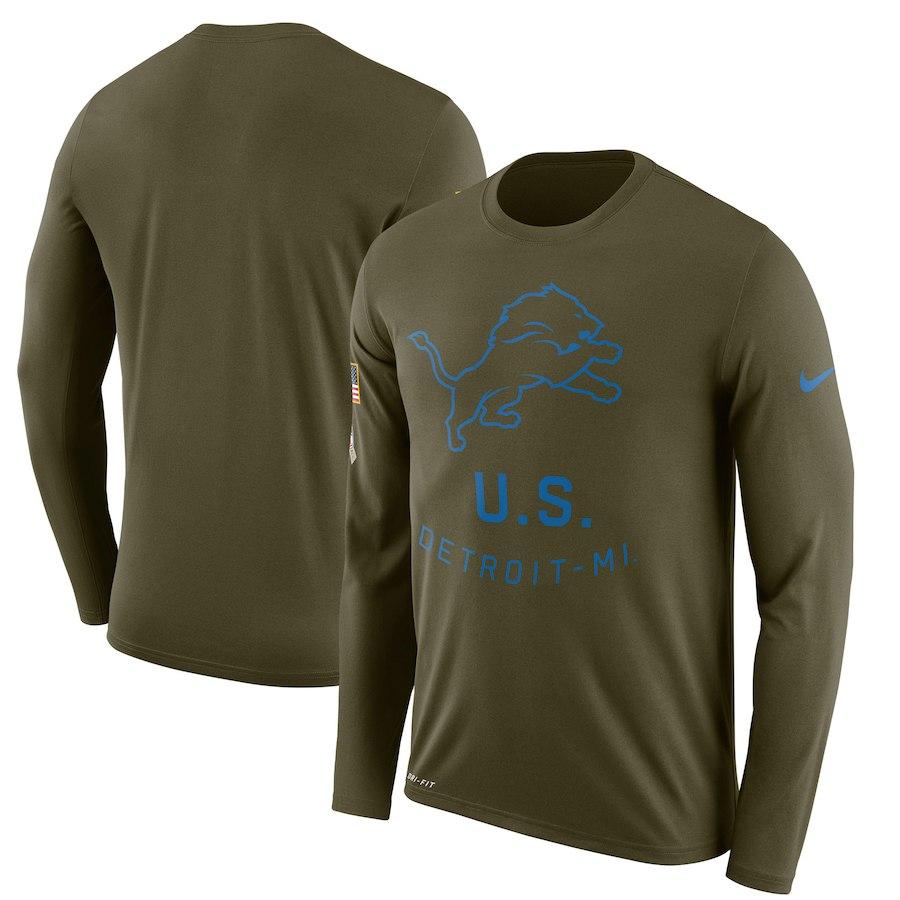 お取り寄せ NFL ライオンズ Tシャツ サルート トゥ サービス サイドライン レジェンド ロンT ナイキ/Nike オリーブ