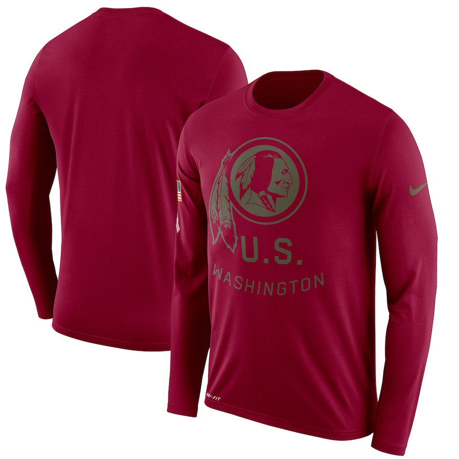 お取り寄せ NFL レッドスキンズ Tシャツ サルート トゥ サービス サイドライン レジェンド ロンT ナイキ/Nike バーガンディ
