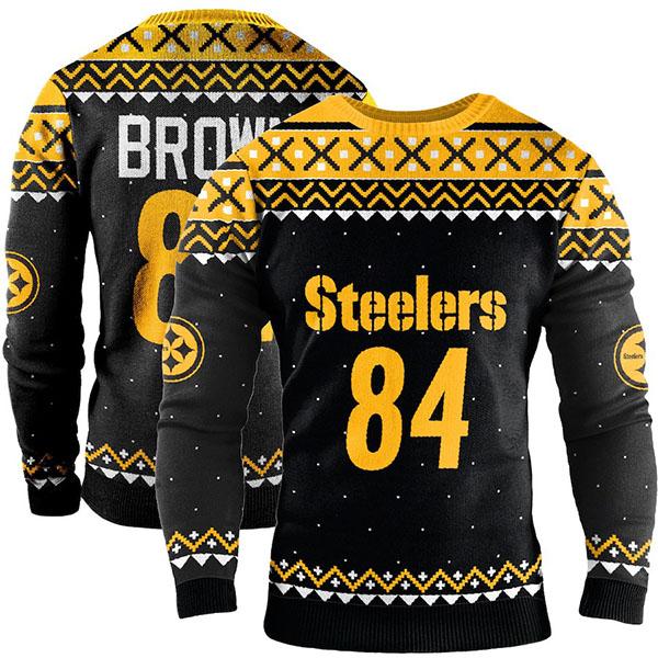 お取り寄せ NFL スティーラーズ アントニオ・ブラウン スウェットシャツ/トレーナー ネーム アンド ナンバー クルー セーター ブラック