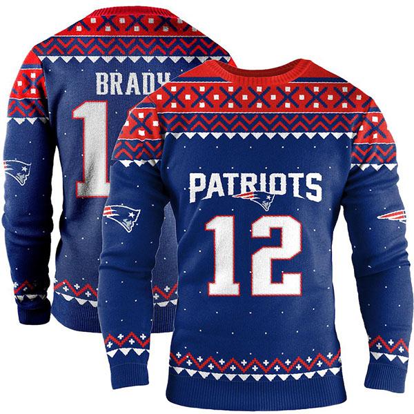 お取り寄せ NFL ペイトリオッツ トム・ブレイディ スウェットシャツ/トレーナー ネーム アンド ナンバー クルー セーター ネイビー