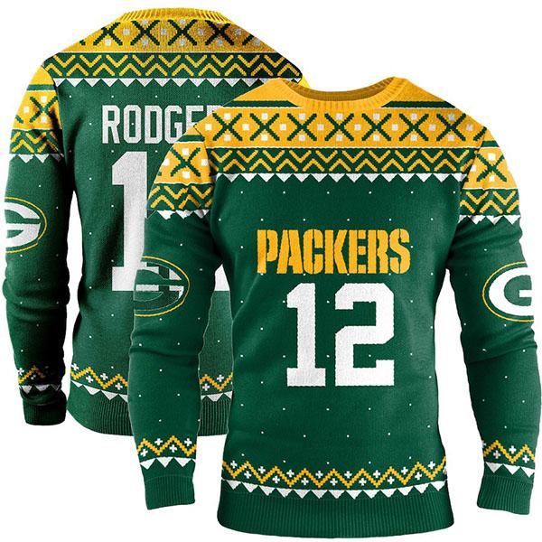 お取り寄せ NFL パッカーズ アーロン・ロジャース スウェットシャツ/トレーナー ネーム アンド ナンバー クルー セーター グリーン