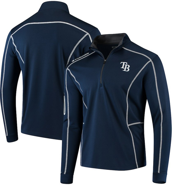 お取り寄せ MLB レイズ ジャケット/アウター ショットガン クォータージップ プルオーバー コロンビア/Columbia ネイビー