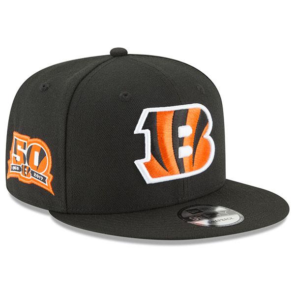 お取り寄せ NFL ベンガルズ キャップ/帽子 アニバーサリー パッチ スナップバック ニューエラ/New Era ブラック【1910価格変更】【191028変更】