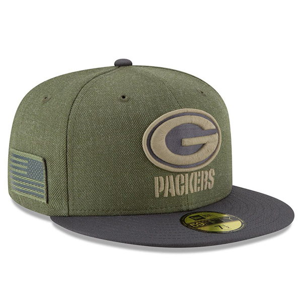 05e93af2 NFL Packers cap / hat 2018 Salute To Service 59FIFTY フィッテッドニューエラ /New Era