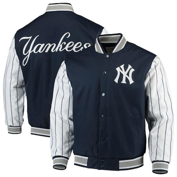 お取り寄せ MLB ヤンキース ジャケット/アウター キルテッドニット ジャージ ライン JHデザイン/JH Design ネイビー
