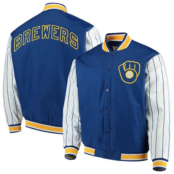 お取り寄せ MLB ブリュワーズ ジャケット/アウター キルテッドニット ジャージ ライン JHデザイン/JH Design ロイヤル