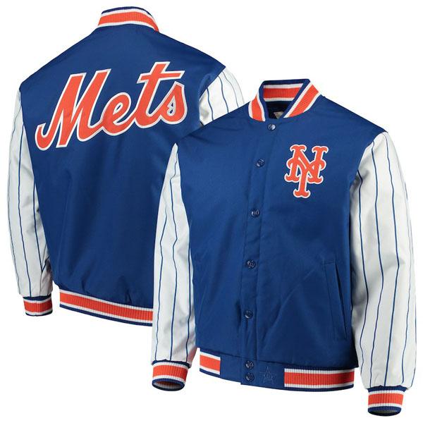 お取り寄せ MLB メッツ ジャケット/アウター キルテッドニット ジャージ ライン JHデザイン/JH Design ロイヤル