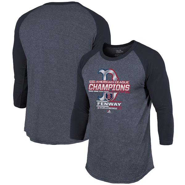 お取り寄せ MLB レッドソックス Tシャツ 2018 ア・リーグ優勝記念 選手着用 マジェスティック/Majestic ネイビー