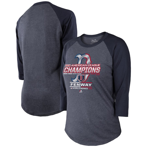 お取り寄せ MLB レッドソックス Tシャツ 2018 ア・リーグ優勝記念 選手着用 レディース マジェスティック/Majestic ネイビー