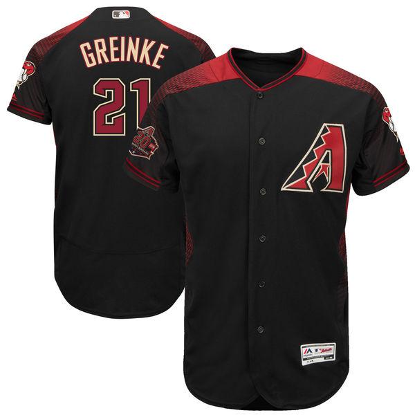 お取り寄せ MLB ダイヤモンドバックス ザック・グリンキー 20周年記念 パッチ付き オーセンティック ユニフォーム マジェスティック/Majestic ブラック