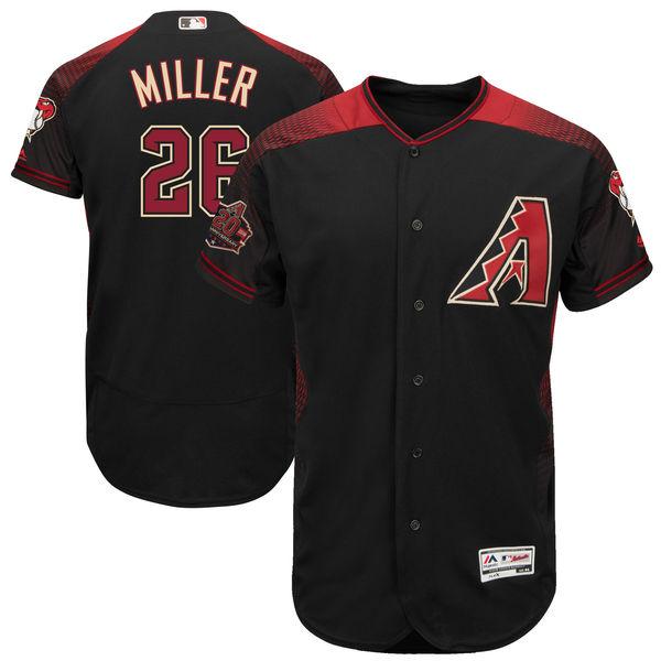 お取り寄せ MLB ダイヤモンドバックス シェルビー・ミラー 20周年記念 パッチ付き オーセンティック ユニフォーム マジェスティック/Majestic ブラック