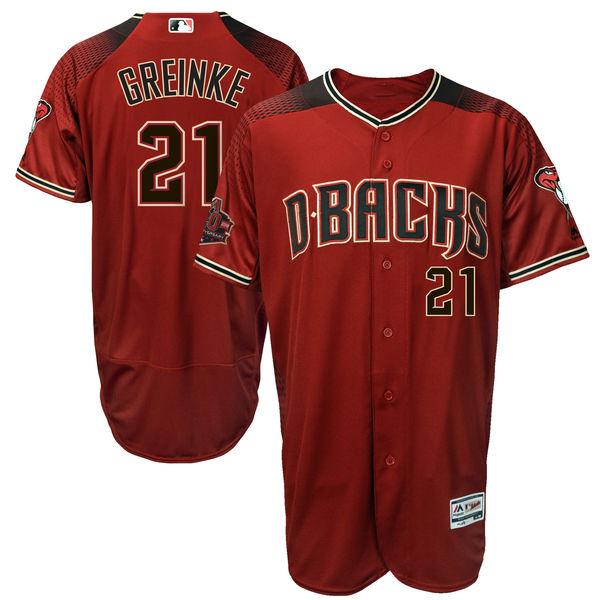 お取り寄せ MLB ダイヤモンドバックス ザック・グリンキー 20周年記念 パッチ付き オーセンティック ユニフォーム マジェスティック/Majestic クリムゾン