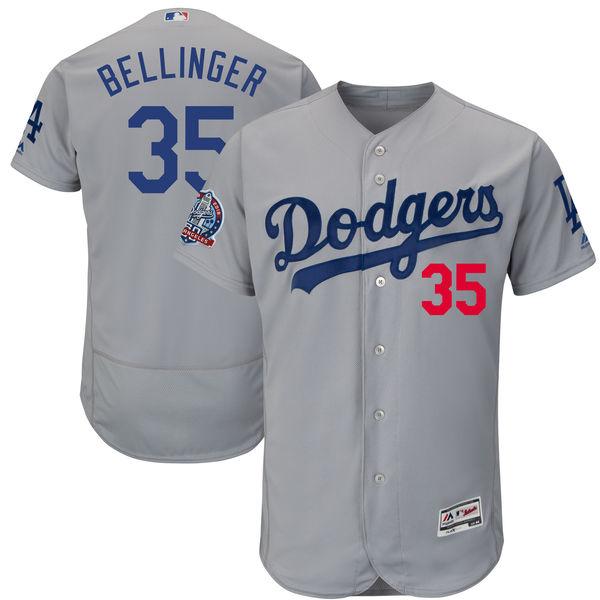 お取り寄せ MLB ドジャース コディ・ベリンジャー 60周年記念 パッチ付き オーセンティック ユニフォーム マジェスティック/Majestic ロードオルタネート