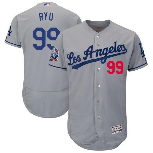 お取り寄せ MLB ドジャース リュ・ヒョンジン 60周年記念 パッチ付き オーセンティック ユニフォーム マジェスティック/Majestic ロード