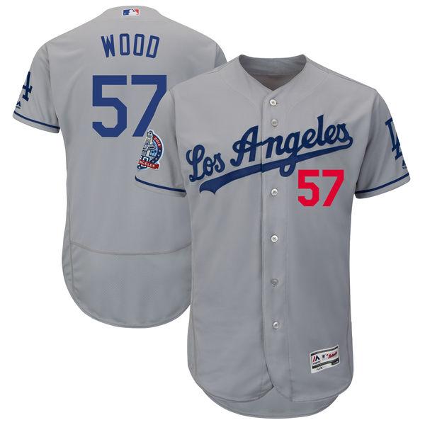お取り寄せ MLB ドジャース アレックス・ウッド 60周年記念 パッチ付き オーセンティック ユニフォーム マジェスティック/Majestic ロード