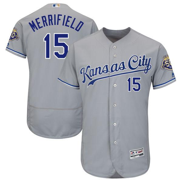 お取り寄せ MLB ロイヤルズ ウィット・メリフィールド 50周年記念 パッチ付き オーセンティック ユニフォーム マジェスティック/Majestic ロード