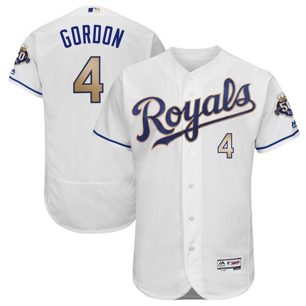 お取り寄せ MLB ロイヤルズ アレックス・ゴードン 50周年記念 パッチ付き オーセンティック ユニフォーム マジェスティック/Majestic ホームオルタネート