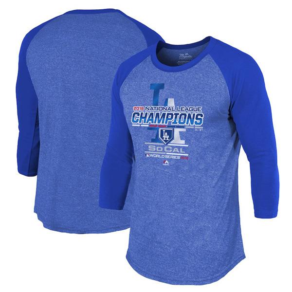 お取り寄せ MLB ドジャース Tシャツ 2018 ナ・リーグ優勝記念 選手着用 マジェスティック/Majestic ロイヤル
