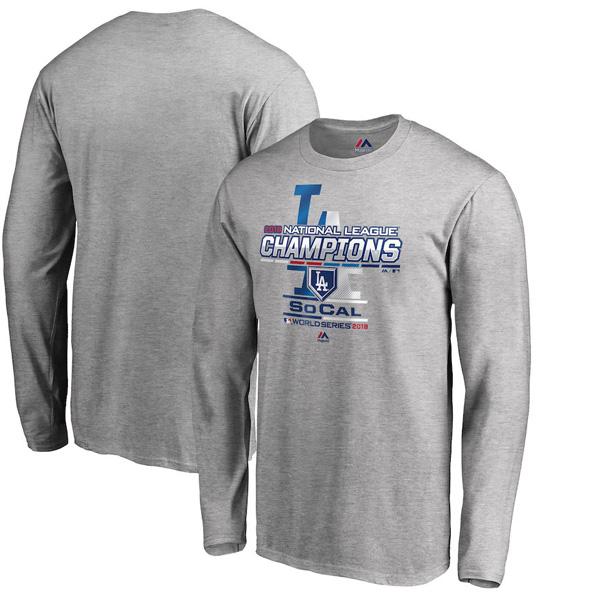 お取り寄せ MLB ドジャース Tシャツ 2018 ナ・リーグ優勝記念 選手着用 ロング マジェスティック/Majestic