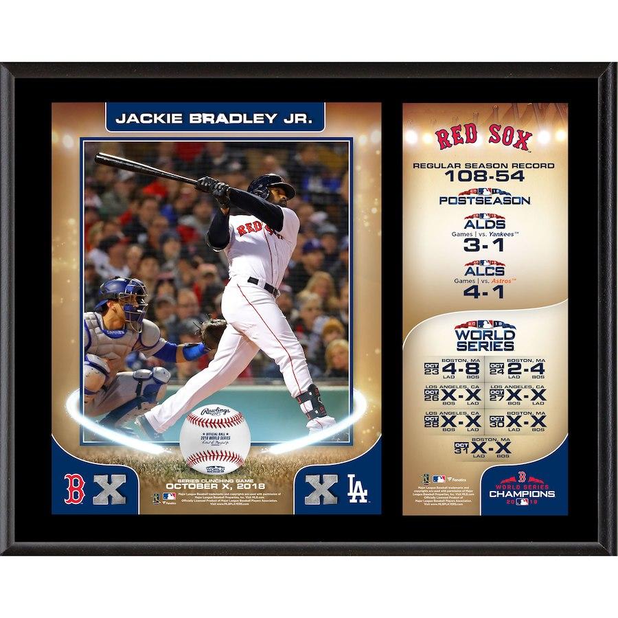 お取り寄せ MLB レッドソックス ジャッキー・ブラッドリーJr. 2018 ワールドチャンピオン記念 プラーク