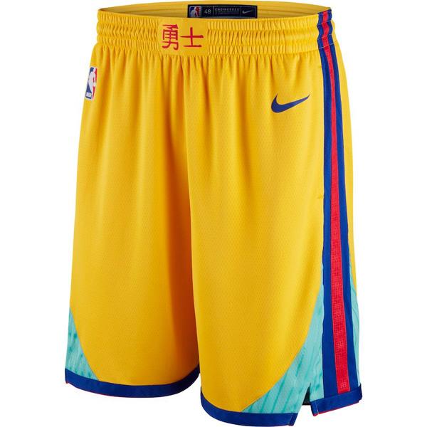 お取り寄せ NBA ウォリアーズ ショートパンツ/ショーツ スウィングマン シティ・エディション ナイキ/Nike ゴールド