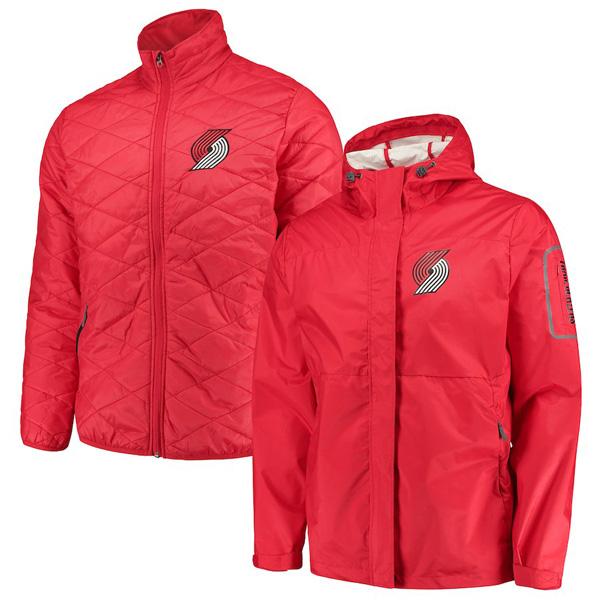 お取り寄せ NBA トレイルブレイザーズ ジャケット/アウター 3WAY システムズ フルジップ メンズ G-III レッド