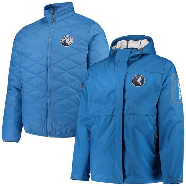 お取り寄せ NBA ティンバーウルブズ ジャケット/アウター 3WAY システムズ フルジップ メンズ G-III ブルー