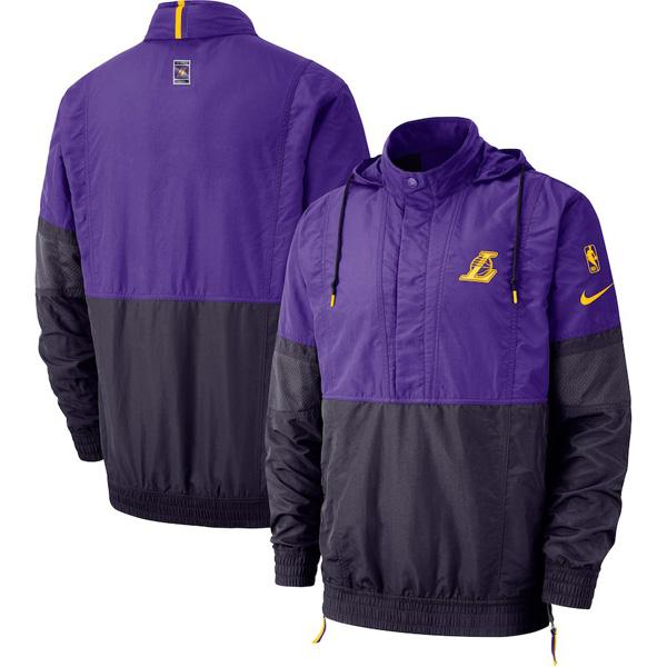 お取り寄せ NBA レイカーズ ジャケット/アウター コートサイド レトロ フーデッド メンズ ナイキ/Nike パープル