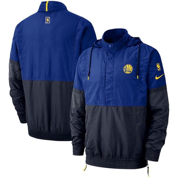 お取り寄せ NBA ウォリアーズ ジャケット/アウター コートサイド レトロ フーデッド メンズ ナイキ/Nike ロイヤル