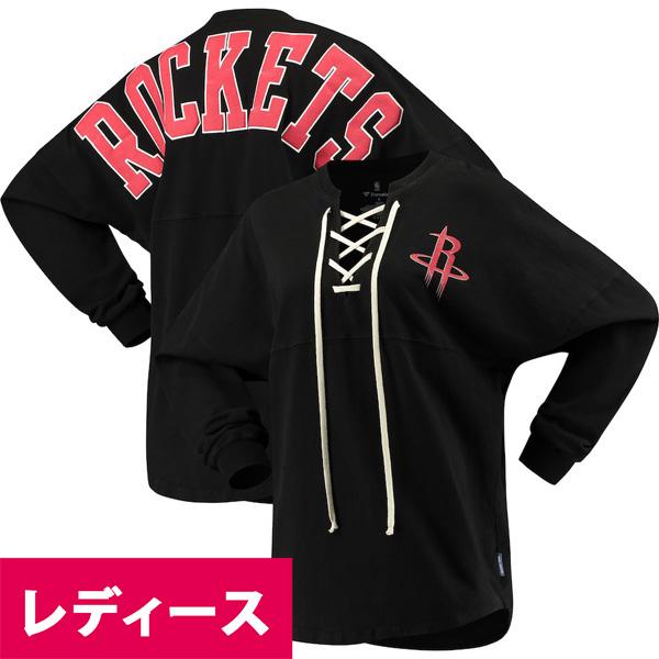 お取り寄せ NBA ロケッツ Tシャツ ジャージ レースアップ ロングスリーブ レディース ブラック