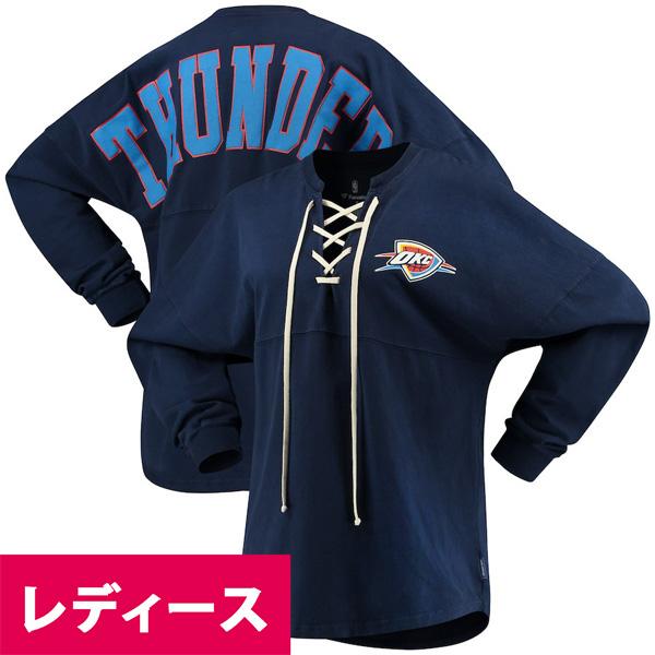 お取り寄せ NBA サンダー Tシャツ ジャージ レースアップ ロングスリーブ レディース ネイビー