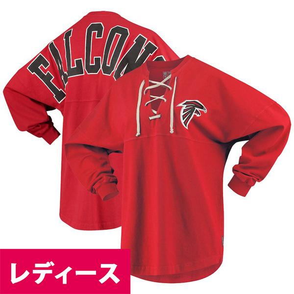 お取り寄せ NFL ファルコンズ Tシャツ ジャージ レースアップ ロングスリーブ レディース レッド