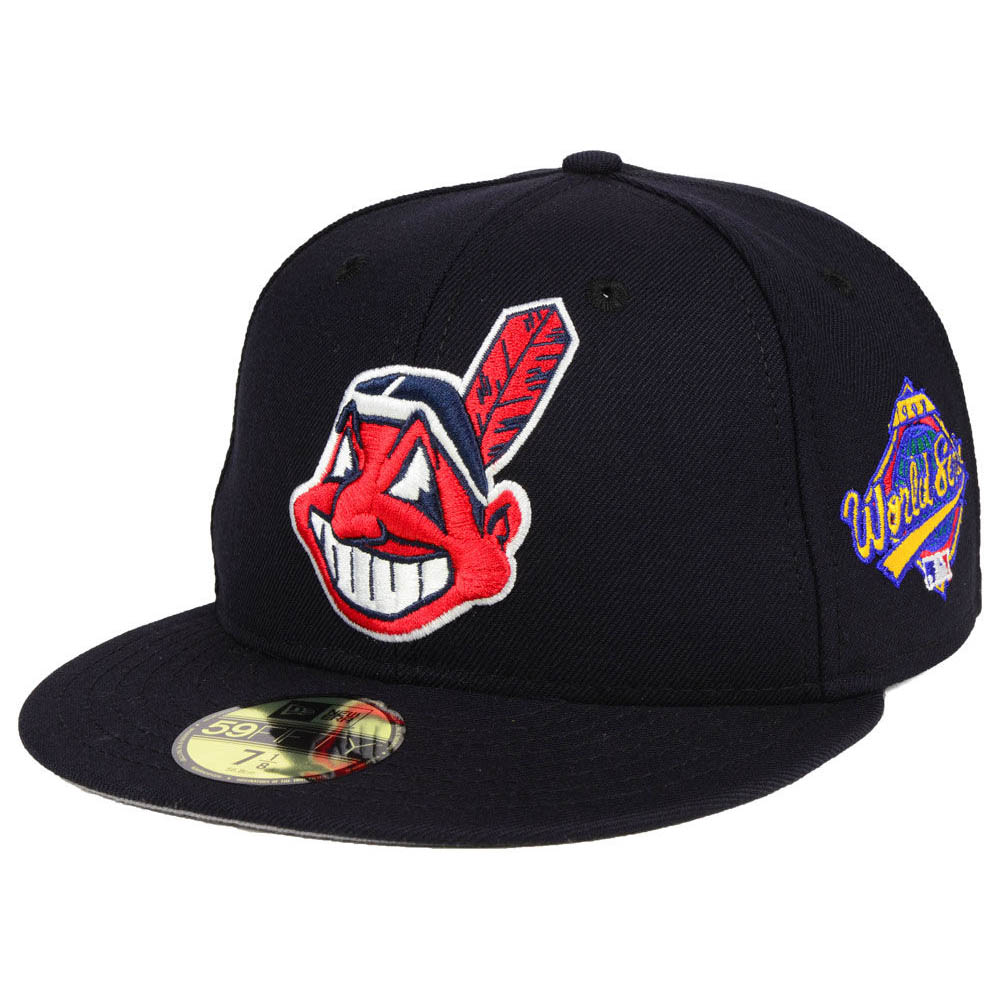 お取り寄せ MLB インディアンス キャップ/帽子 レトロ ワールド シリーズ 1997 パッチ ニューエラ/New Era ネイビー