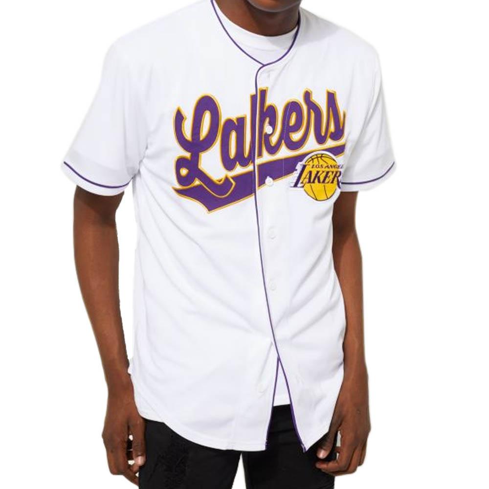 d94f12e083a MLB NBA NFL Goods Shop: NBA Lakers jersey button shirt white ...