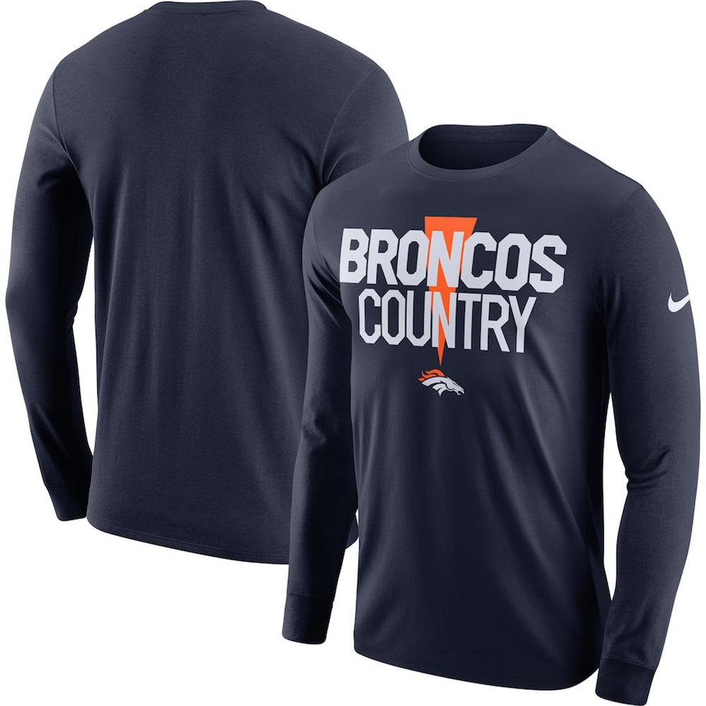お取り寄せ NFL ブロンコス Tシャツ ローカル ロックアップ パフォーマンス 長袖 ナイキ/Nike ネイビー