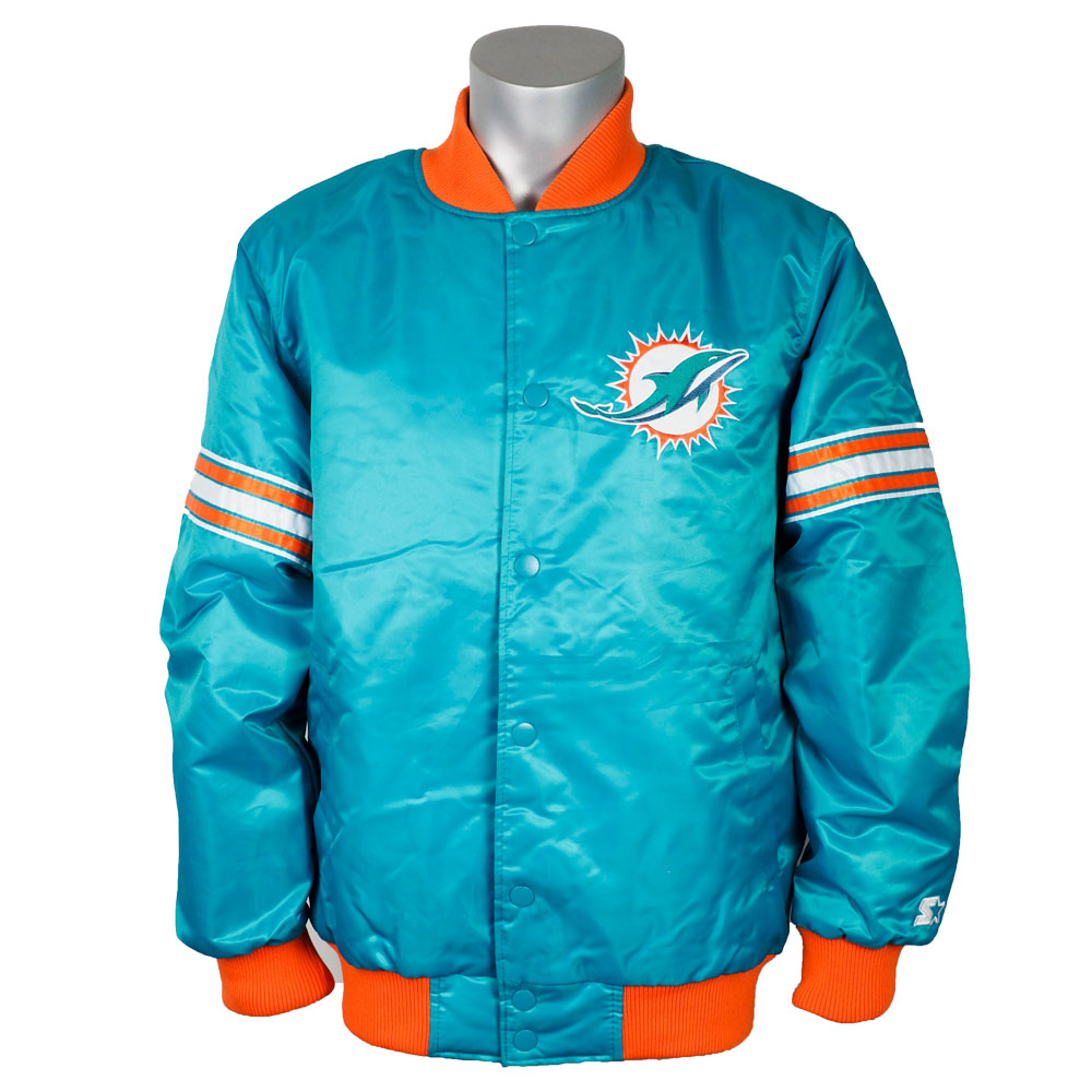 online retailer f262c e8511 NFL Dolphins jacket / outer draft pick bar city satin starter /Starter