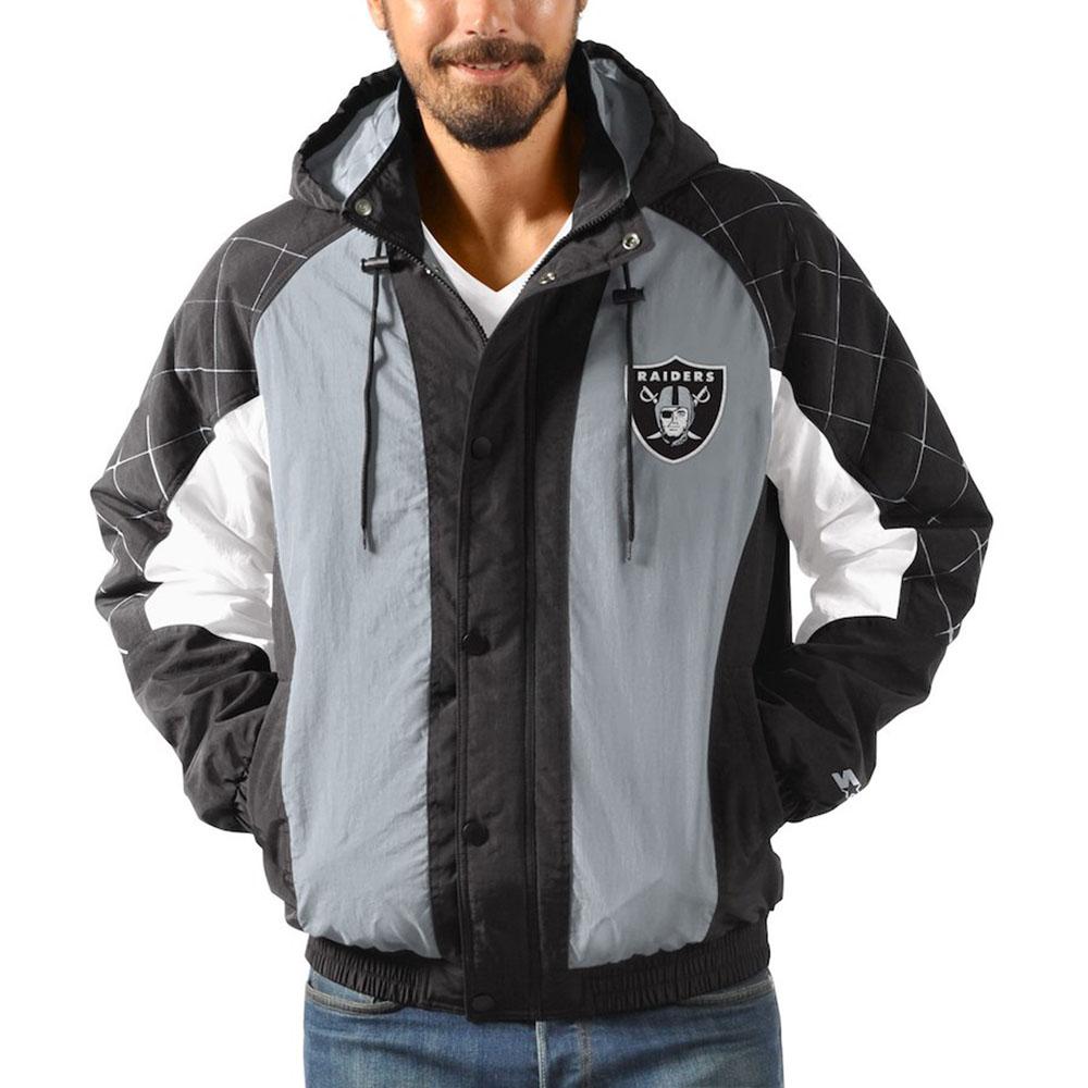 brand new 5a35b 7c612 NFL Raiders jacket / アウターヘビーヒッターフルジップスナップフーディ / hooded starter /Starter