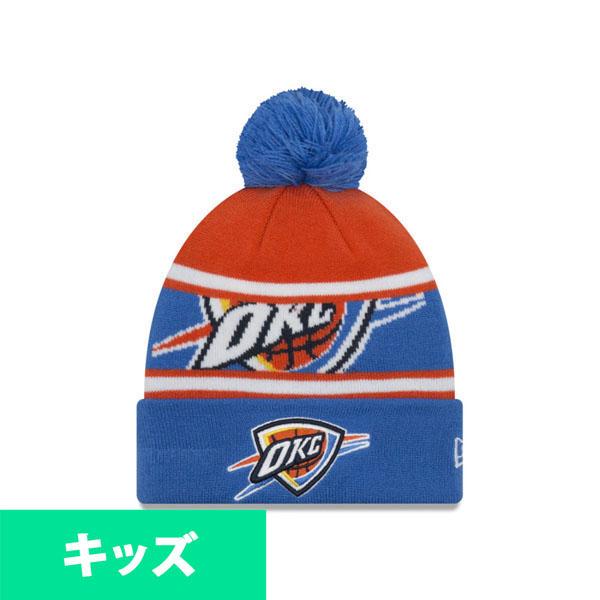 NBA サンダー ニットキャップ/ニット帽 キッズ ポンポン ニューエラ/New Era ブルー